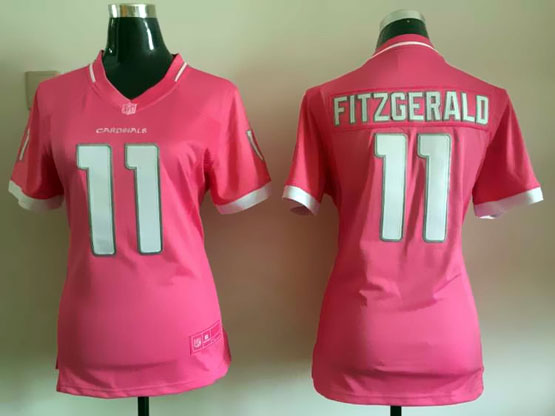 Women  Nfl Arizona Cardinals #11 Larry Fitzgerald Pink Bubble Gum Jersey