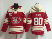 Mens Nfl San Francisco 49ers #80 Rice Red (team Hoodie) Jersey