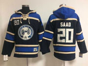 Mens Reebok Nhl Columbus Blue Jackets #20 Saad Navy Blue Hoodie Jersey