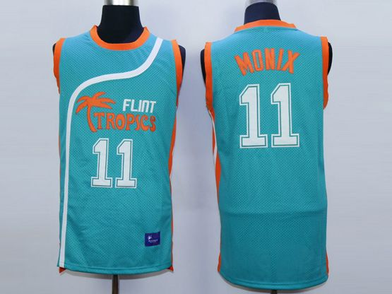 Mens Nba Movie Flint Tropics Semi Pro #11 Monix Light Blue Jersey