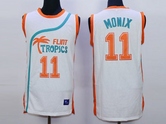 Mens Nba Movie Flint Tropics Semi Pro #11 Monix White Jersey