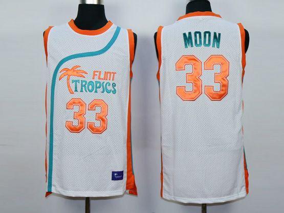 Mens Nba Movie Flint Tropics Semi Pro #33 Moon White Jersey