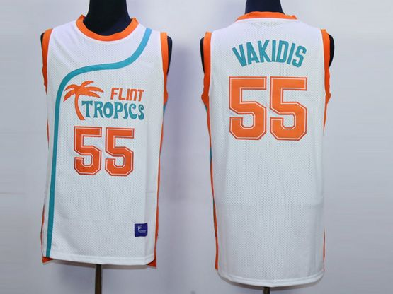 Mens Nba Movie Flint Tropics Semi Pro #55 Vakidis White Jersey