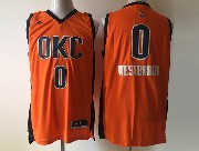 Mens Nba Oklahoma City Thunder #0 Russell Westbrook Orange Climacool Jersey