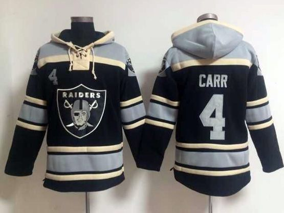 mens nfl Oakland Raiders #4 Derek Carr black (team hoodie) jersey