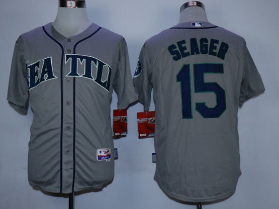 Mens Mlb Seattle Mariners #15 Seager Gray Jersey