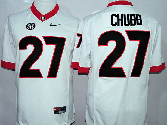 Mens Ncaa Nfl Georgia Bulldogs #27 Chubb White Sec Limited Jersey