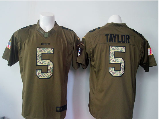 mens nfl Buffalo Bills #5 Tyrod Taylor green green salute to service limited jersey