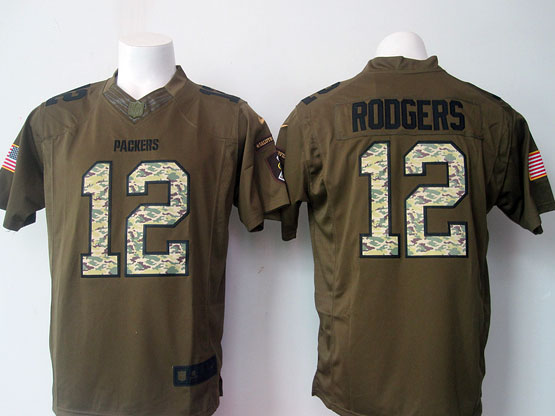 mens nfl Green Bay Packers #12 Aaron Rodgers green salute to service limited jersey