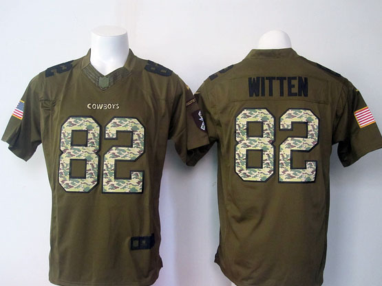 Mens Nfl Dallas Cowboys #82 Witten Green Salute To Service Limited Jersey
