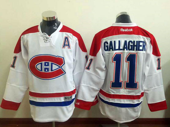 Mens Reebok Nhl Montreal Canadiens #11 Gallagher White (ch) Lacing Jersey