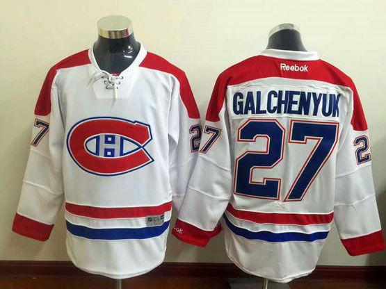Mens Reebok Nhl Montreal Canadiens #27 Galchenyuk White (ch) Lacing Jersey