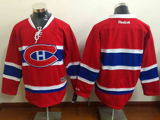 Mens Reebok Nhl Montreal Canadiens Blank Red (ch) Lacing Jersey