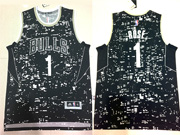 Mens Nba Chicago Bulls #1 Rose Black Luminous Version Jersey