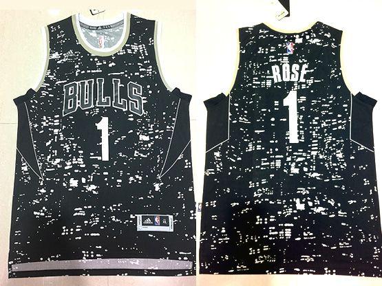 Mens Nba Chicago Bulls #1 Rose Black Luminous Version Jersey