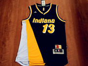 Mens Nba Indiana Pacers #13 George Blue&yellow&white Throwback Jersesy