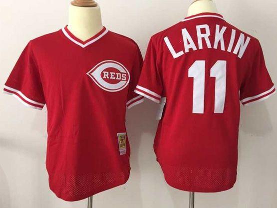 Mens Mlb Cincinnati Reds #11 Larkiin Red Throwbacks Pullover Mesh Jersey