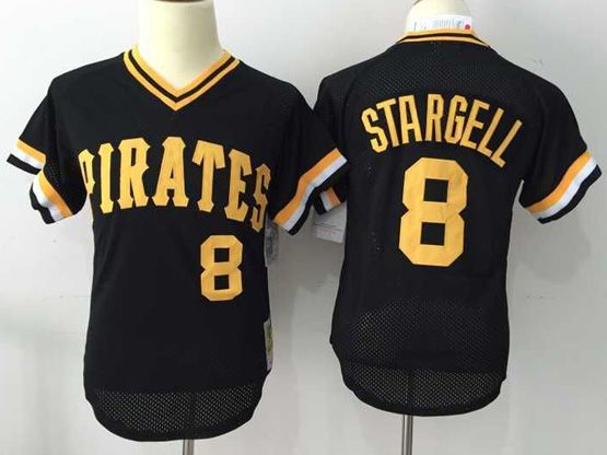 Mens Mlb Pittsburgh Pirates #8 Stargell Black Throwbacks Pullover Mesh Jersey