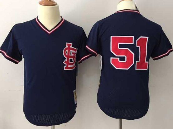Mens Mlb St.louis Cardinals #51 Mcgee Dark Blue Throwbacks Pullover Mesh Jersey