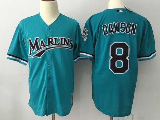 Mens Mlb Miami Marlins #8 Dawson Green Throwbacks Mesh Jersey