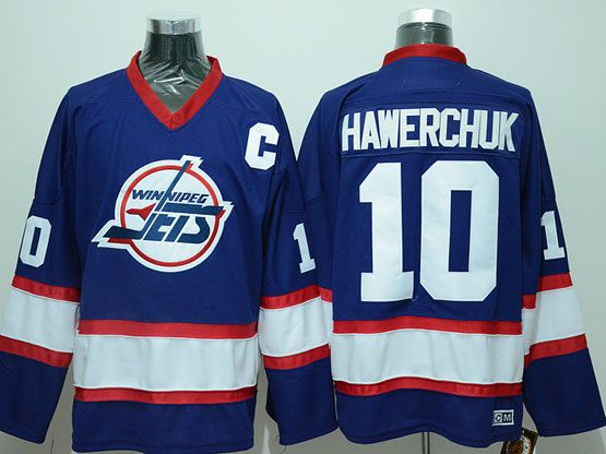 Mens Nhl Winnipeg Jets #10 Hawerchuk Blue With C Patch New Throwbacks Jersey