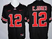 mens ncaa nfl Ohio State Buckeyes #12 Cardale Jones black (red number collar diamond) jersey