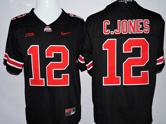 mens ncaa nfl Ohio State Buckeyes #12 Cardale Jones black (red number collar diamond) jersey