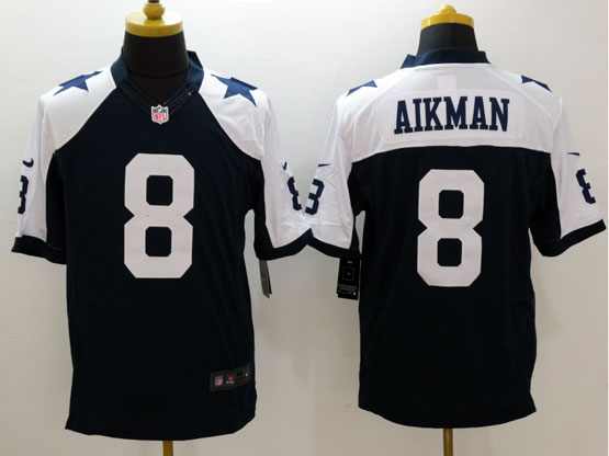 mens nfl Dallas Cowboys #8 Troy Aikman blue throwbacks limited jersey
