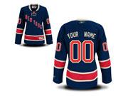 Women Nhl New York Rangers (custom Made) Dark Blue Jersey