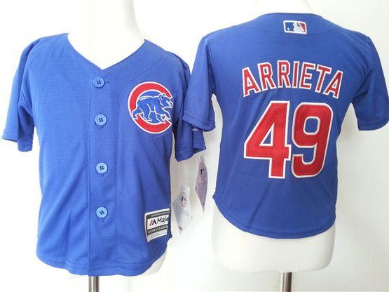 Kids Mlb Chicago Cubs #49 Jake Arrieta Blue Jersey