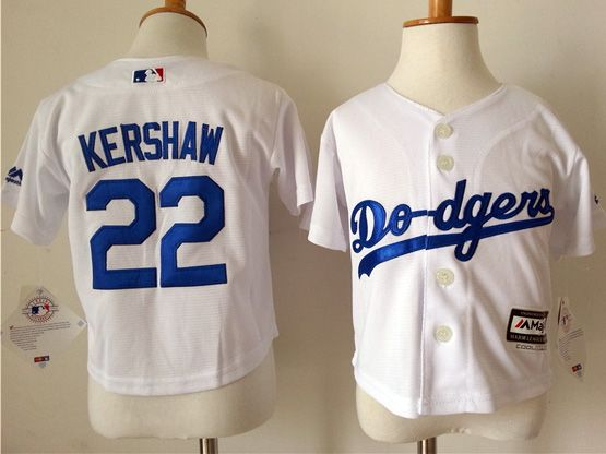 Kid Mlb Los Angeles Dodgers #22 Kershaw White Jersey