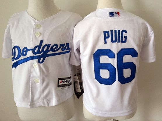 Kid Mlb Los Angeles Dodgers #66 Puig White Jersey