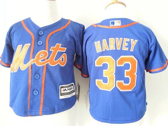 Kids Mlb New York Mets #33 Harvey Blue Jersey