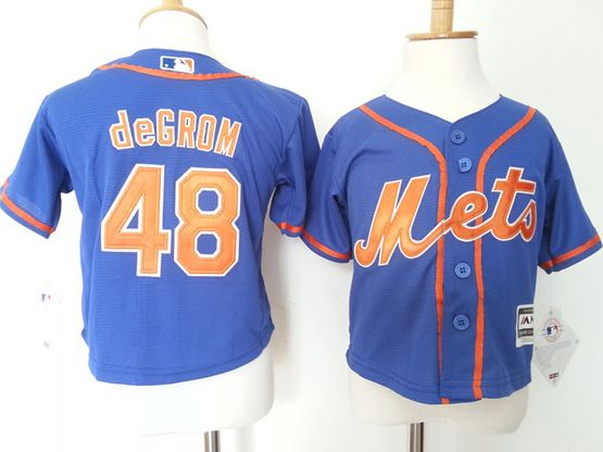 Kids Mlb New York Mets #48 Degrom Blue Jersey