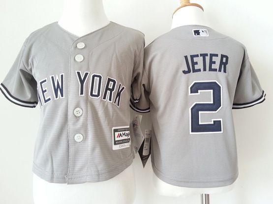 Kids Mlb New York Yankees #2 Jeter Gray Jersey
