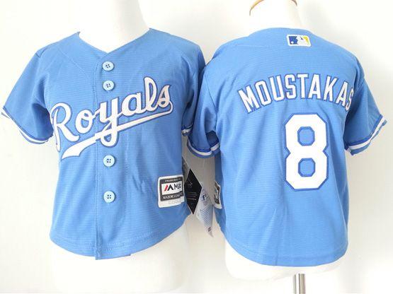 Kids Mlb Kansas City Royals #8 Moustakas Blue Jersey