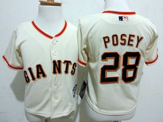 Kids Mlb San Francisco Giants #28 Buster Posey Cream Jersey