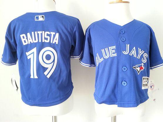 kids mlb Toronto Blue Jays #19 Jose Bautista blue jersey