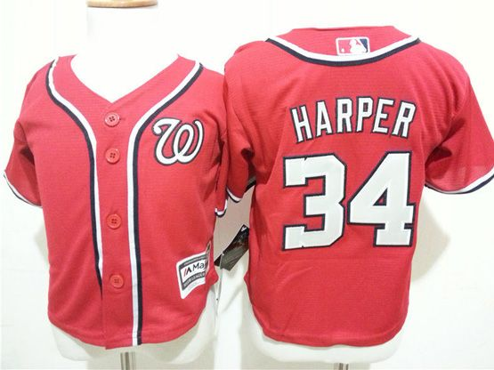 Kids Mlb Washington Nationals #34 Bryce Harper Red Jersey