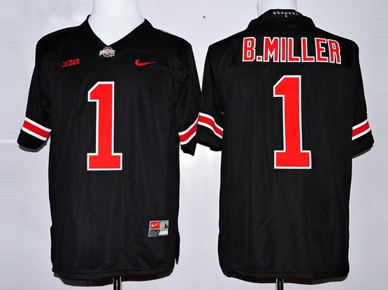 Mens Ncaa Nfl Ohio State Buckeyes #1 B.killer Black (red Number Collar Diamond) Jersey