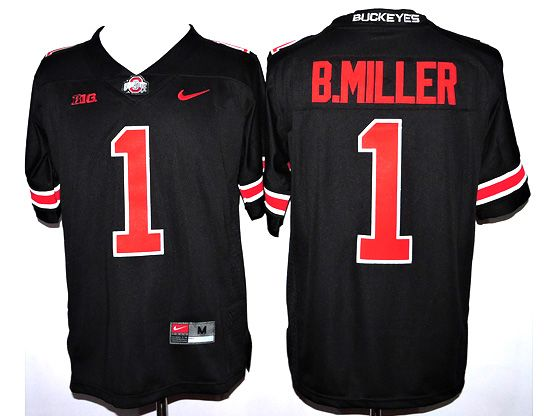 Mens Ncaa Nfl Ohio State Buckeyes #1 B.miller Black (red Number Collar Team Name) Jersey