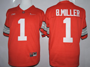 Mens Ncaa Nfl Ohio State Buckeyes #1 B.miller Red Jersey