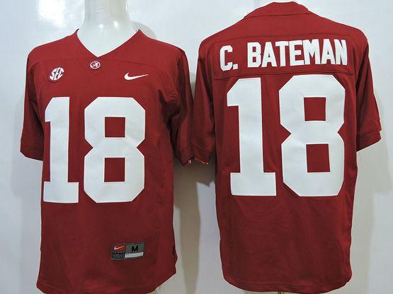 Mens Ncaa Nfl Alabama Crimson #18 C.bateman Red Sec Jersey