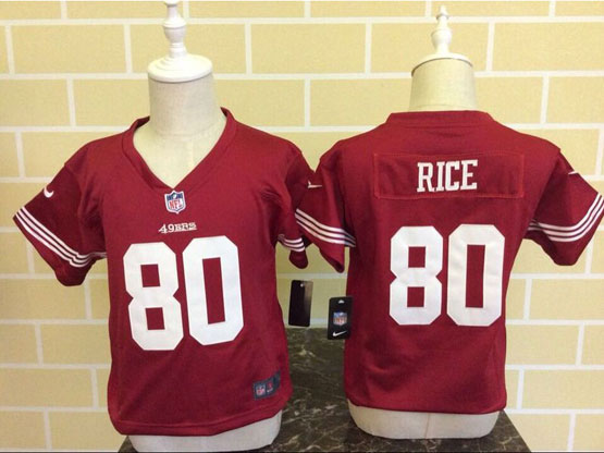 Kids Nfl San Francisco 49ers #80 Rice Red Jersey