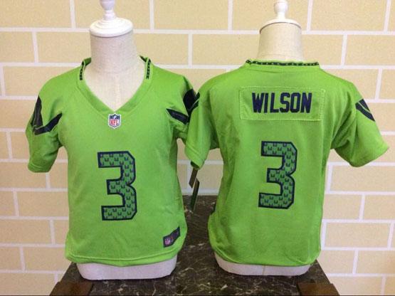 Kids Nfl Seattle Seahawks #3 Wilson Green Jersey