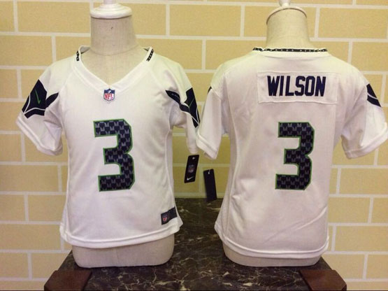 Kids Nfl Seattle Seahawks #3 Wilson White Jersey