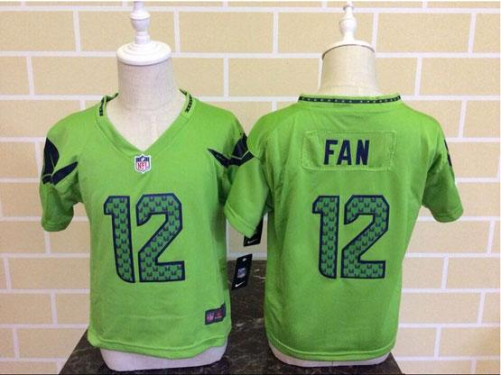 Kids Nfl Seattle Seahawks #12 Fan Green Jersey