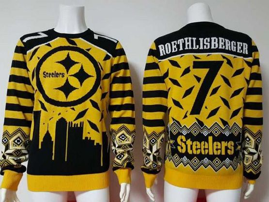 Mens Nfl Pittsburgh Steelers #7 Roethlisberger Yellow Crew Neck Pullover Ugly Sweater