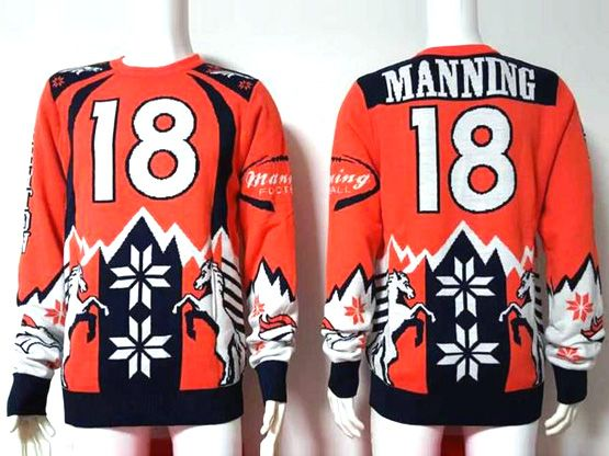 Mens Nfl Denver Broncos #18 Manning Orange Crew Neck Pullover Ugly Sweater