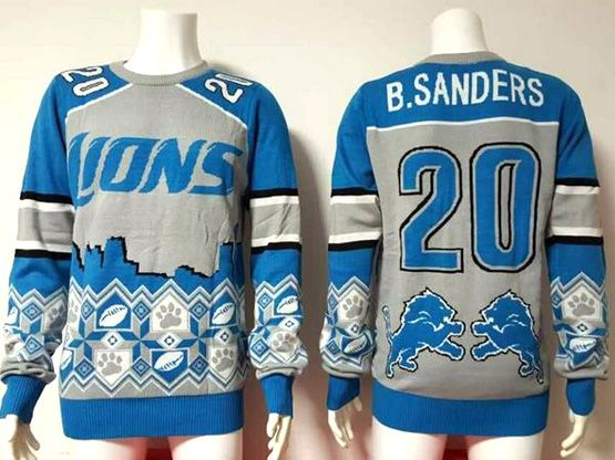 mens nfl Detroit Lions #20 Barry Sanders blue crew neck pullover ugly sweater